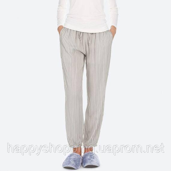 Женские серые брюки в полоску Uniqlo