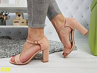 Босоножки на толстом невысоком каблуке классика с лямочкой розовые, фото 1