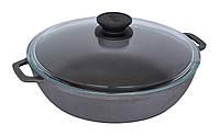 Сковорода чугунная жаровня со стеклянной крышкой Биол Ø 28см 03281с