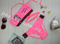 Розовый пляжный раздельный купальник с пони единорог для девочки 34-42р, фото 1