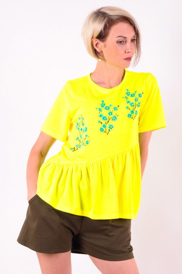 Женская футболка  желтая Сакура/бирюза размеры 40-46