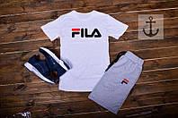 Короткие мужские хлопковые шорты с логотипом Fila серые (реплика)