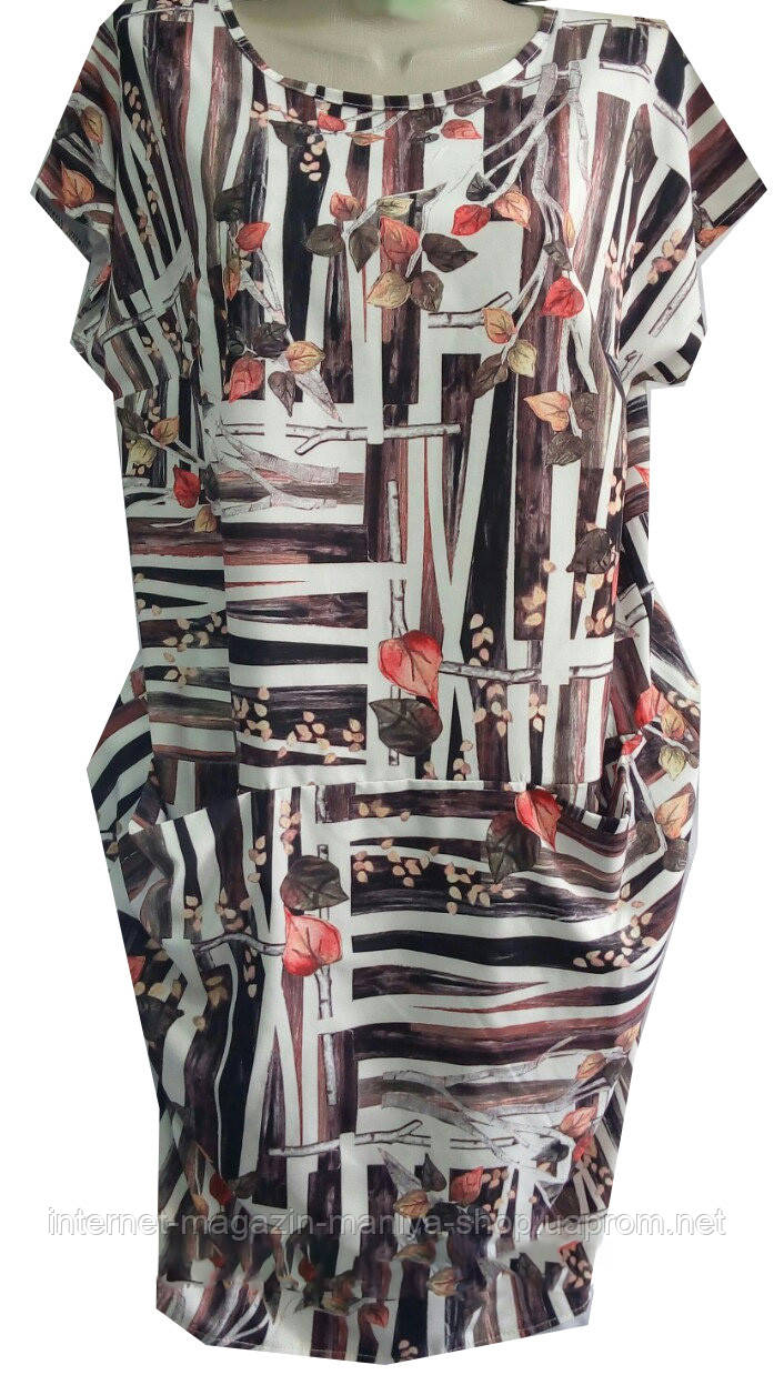 Платье женское принт цветы карманы L-3XL полубатал (лето)