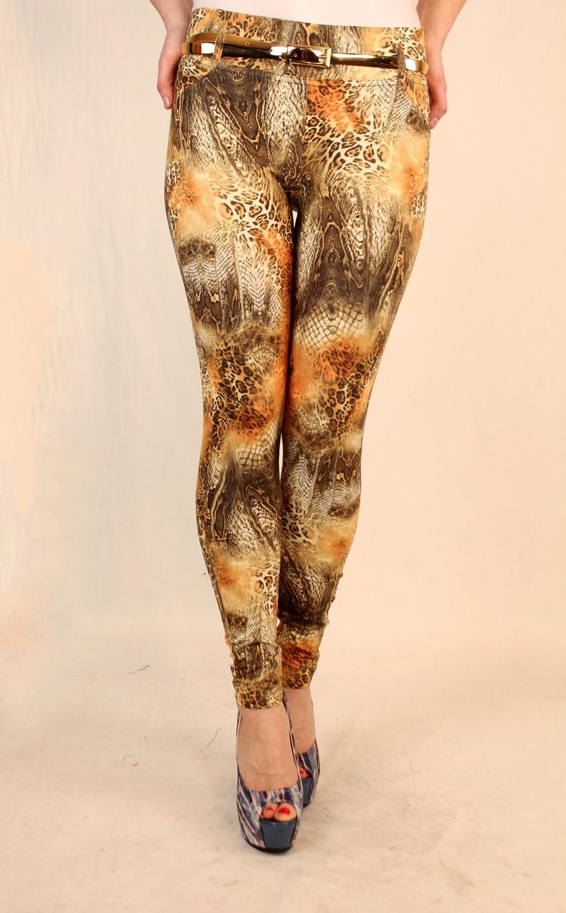 Леопардовые лосины с золотым ремешком 42-44-46 р