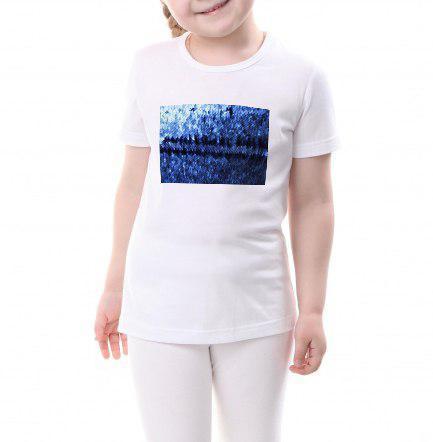 Детская футболка размер 116 с пайетками цв. СИНИЙ под сублимацию