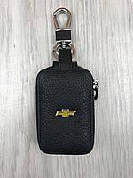 Модная кожаная ключница Chevrolet черная Люкс Автомобильный брелок для ключей Трендовый Шевроле копия, фото 1