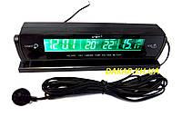 Автомобильные часы с выносным термометром и вольтметром VST 7013V зелёная подсветка, фото 1