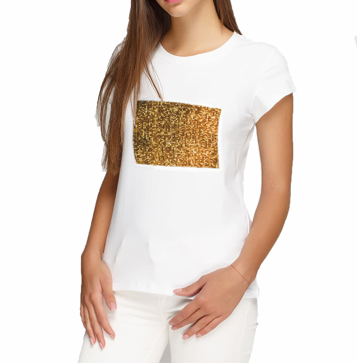 Женская футболка XL с пайетками цв. ЗОЛОТОЙ под сублимацию