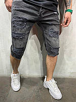 Мужские джинсовые шорты серые 716