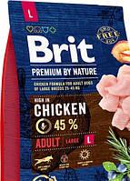 Сухой корм  для собак Brit Premium Adult L для взрослых,  крупных пород со вкусом курицы 3 кг