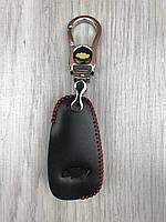 Трендовая кожаная ключница Chevrolet черная Люкс Автомобильный брелок для ключей Стильный Шевроле копия, фото 1