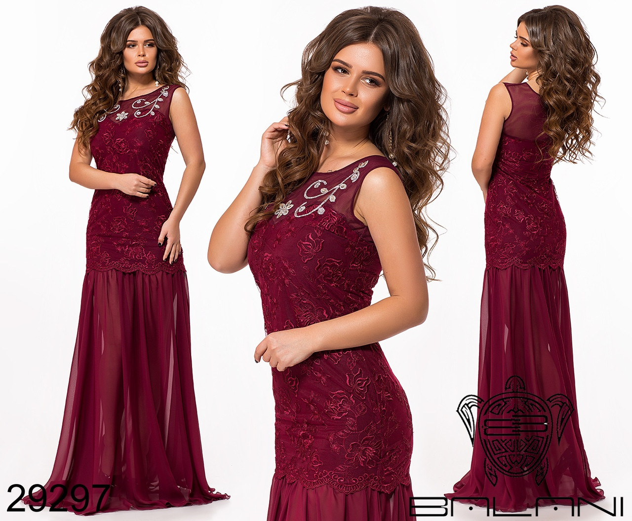 Платье креп дайвинг, вышивка пайетка на сетке Размеры: S, М, L
