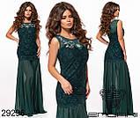 Платье креп дайвинг, вышивка пайетка на сетке Размеры: S, М, L, фото 4