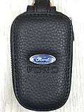 Стильна шкіряна ключниця Ford чорна Якість Автомобільний брелок для ключів Трендовий Форд копія, фото 3