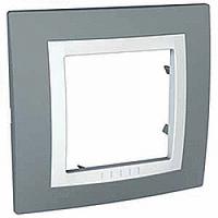 Рамка Schneider-Electric Unica Basic 1-пост с декоративным элементом серая/техно белая