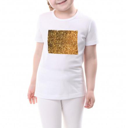 Детская футболка размер 140 с пайетками цв. ЗОЛОТОЙ под сублимацию