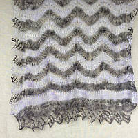 Палантин Гребешок П-00128-1, 8-1, нежно-сиреневый/темно-серый, 170х75, оренбургский шарф (палантин) козий пух