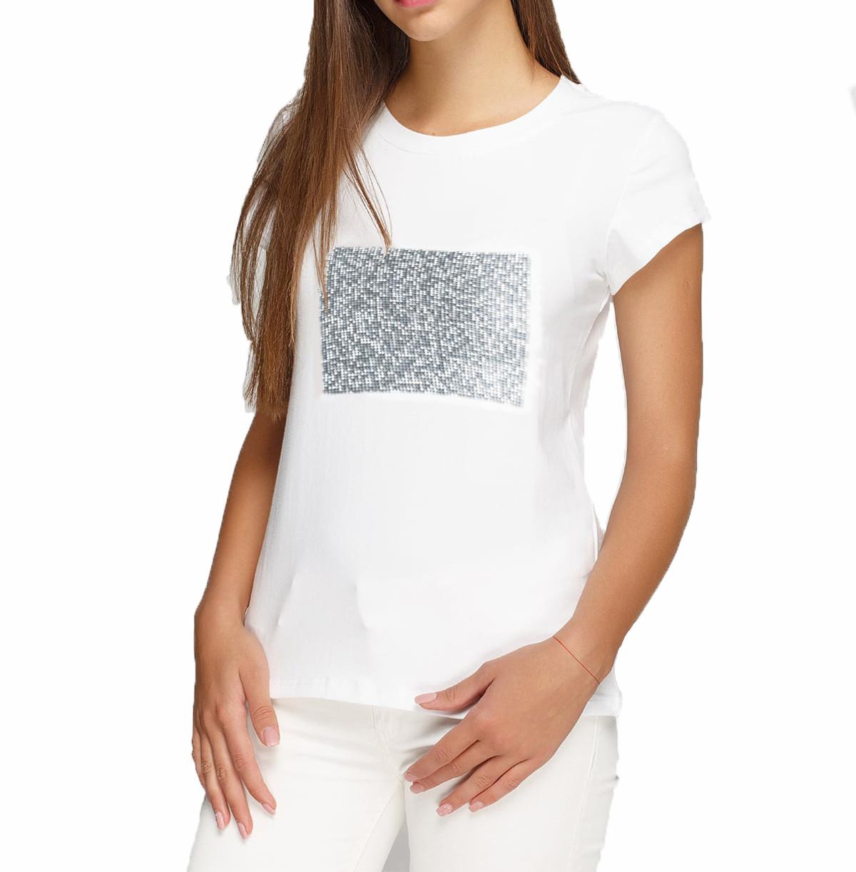 Женская футболка XS с пайетками цв. СЕРЕБРО под сублимацию
