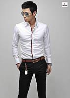 Приталенная мужская рубашка с длинным рукавом белая
