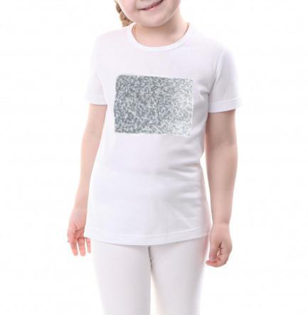 Дитяча футболка розмір 110 з паєтками кол. СРІБЛО для сублімації.