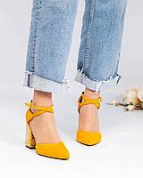 Туфли женские замшевые  открытые желтые, фото 1