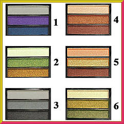Тени для Век Meis MS-033 Трехцветные Атласные Компактные Упаковкой 36 шт. на 6 тонов