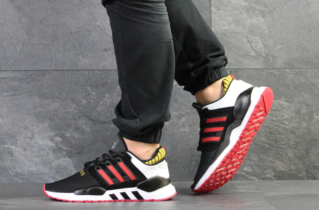 Мужские кроссовки Adidas Equipment 91/18 (черно-белые с красным)