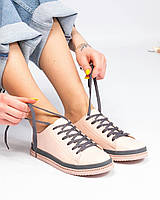 Кеды женские с широкими шнурками цвета пудры, фото 1