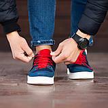 Мужские кроссовки South Mason NAVY/RED, кожаные мужские классические кроссовки, мужские кожаные кеды, фото 3