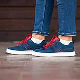 Мужские кроссовки South Mason NAVY/RED, кожаные мужские классические кроссовки, мужские кожаные кеды, фото 5