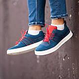 Мужские кроссовки South Mason NAVY/RED, кожаные мужские классические кроссовки, мужские кожаные кеды, фото 4