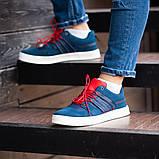 Мужские кроссовки South Mason NAVY/RED, кожаные мужские классические кроссовки, мужские кожаные кеды, фото 2