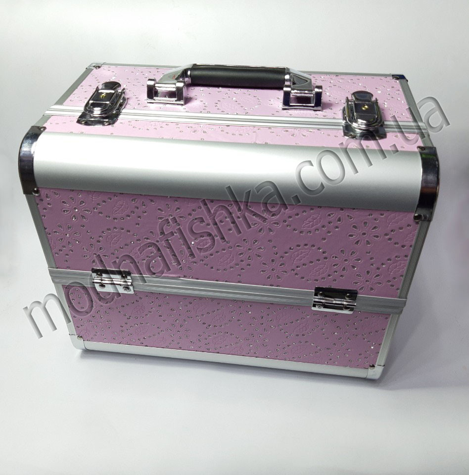 Чемодан металлический раздвижной со стразами розовый