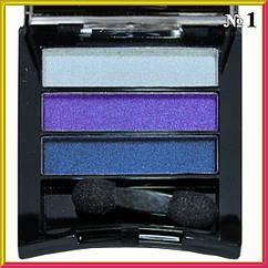 Тени для Век Meis MS-033 Трехцветные Атласные Компактные Тон 01 Цвета Белые, Фиолетовые, Синие