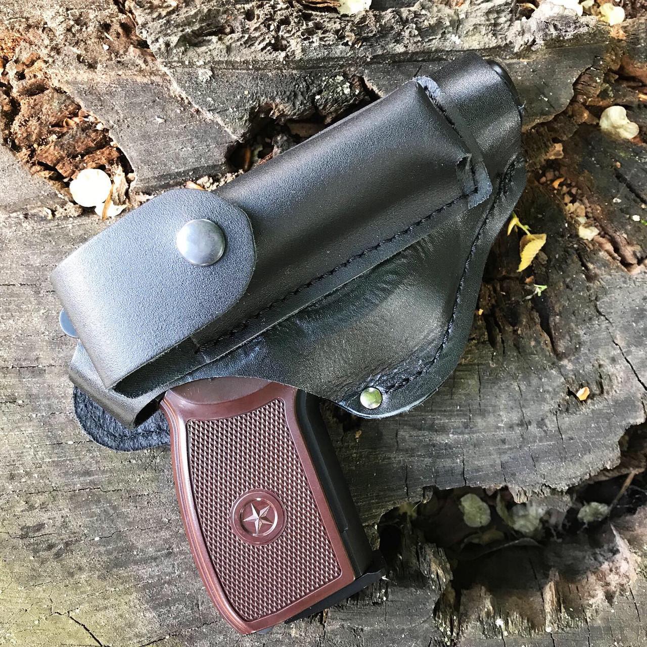 Кобура поясна ПМ, МР-654к з кишенею для магазину (шкіра)