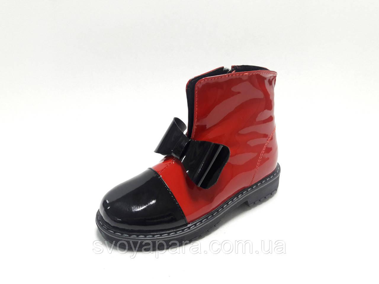 Ботинки весенне-осенние для девочки красные с черным лаковые (03702)