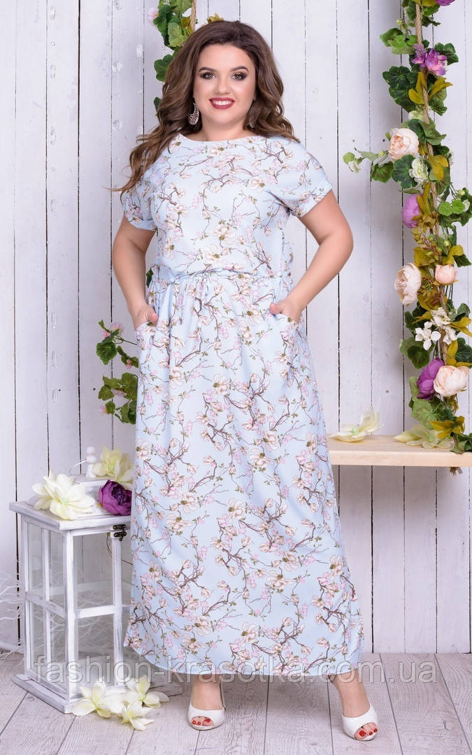 Шикарное женское длинное летнее платье,ткань:супер софт,размеры 50,52,54,56,58.