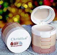 Пудра-корректор на рисовой основе для лица Christian 6 Color Set of Rice Powder 6 в 1