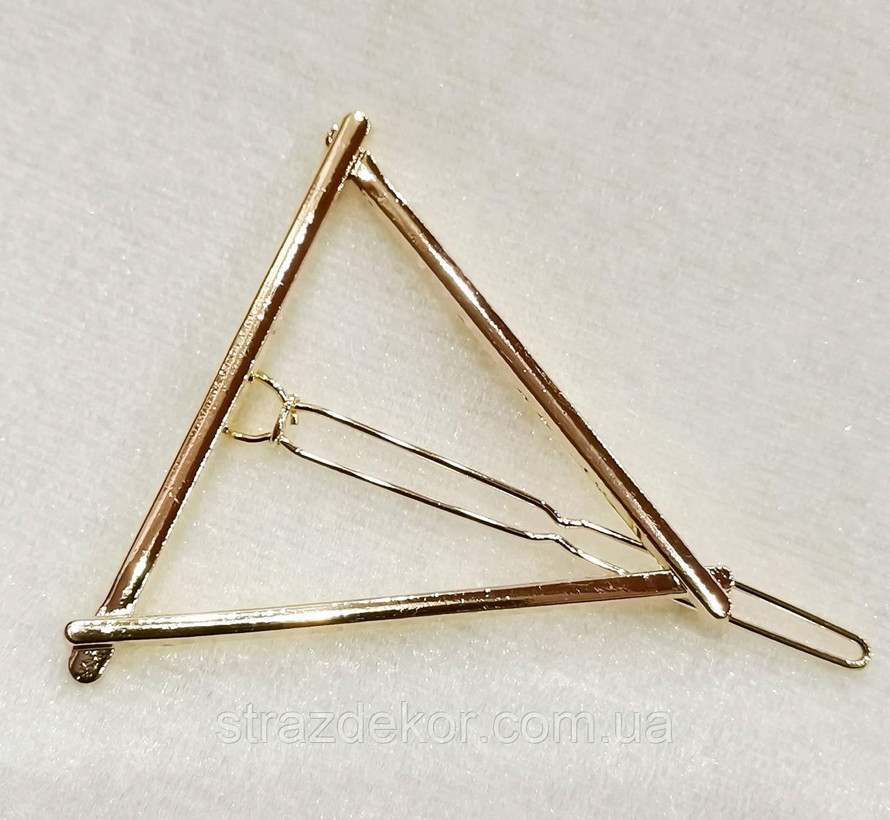 Заколка для волос фигура Треугольник (цвет золото), фото 1