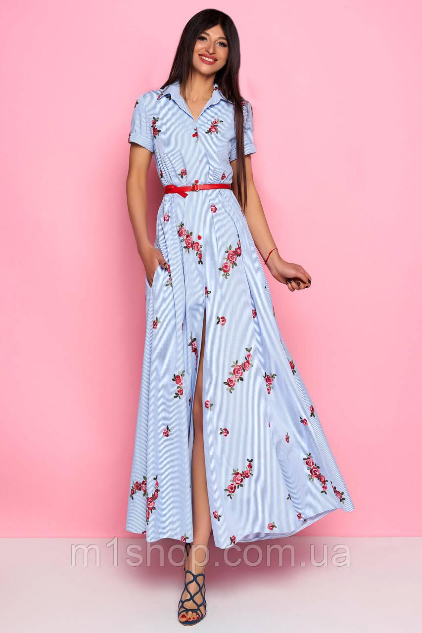 6722ad517a04064 Женское полосатое платье-рубашка в пол с широкой юбкой-солнце (Карла jd)