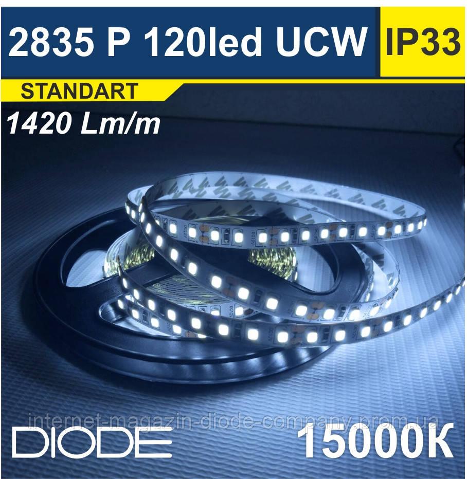 Світлодіодна стрічка SMD 2835, 120 шт/м, 15000К (Ультрахолодний Білий)