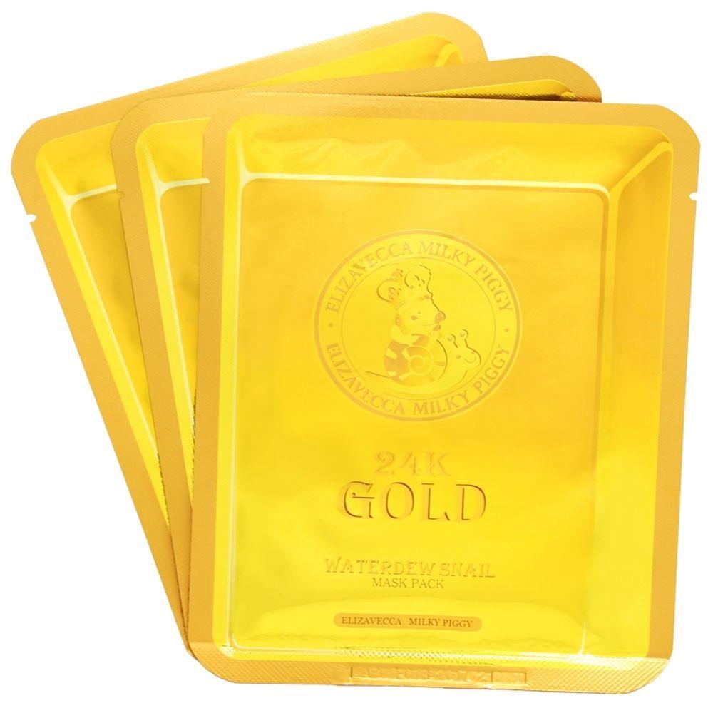 Омолаживающая маска для лица с экстрактом слизи улитки и коллоидным золотом Elizavecca 24K Gold Water Dew Snail Mask