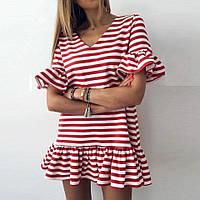 Модное платье в полоску с рукавом - бабочка с оборками, мини