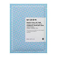 Увлажняющая тканевая маска для лица с экстрактом зеленого чая Mizon Enjoy Vital-Up Time Watery Moisture Mask Hydrate Your Dry Skin