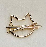 Заколка для волос Котик с бусинкой (цвет золото), фото 1