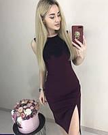 Женское трикотажное платье с кружевом, фото 1