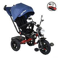 Велосипед трехколесный с родительской ручкой и пультом Best Trike Синий 360° ПОВОРОТНОЕ СИДЕНИЕ 4490 - 9037