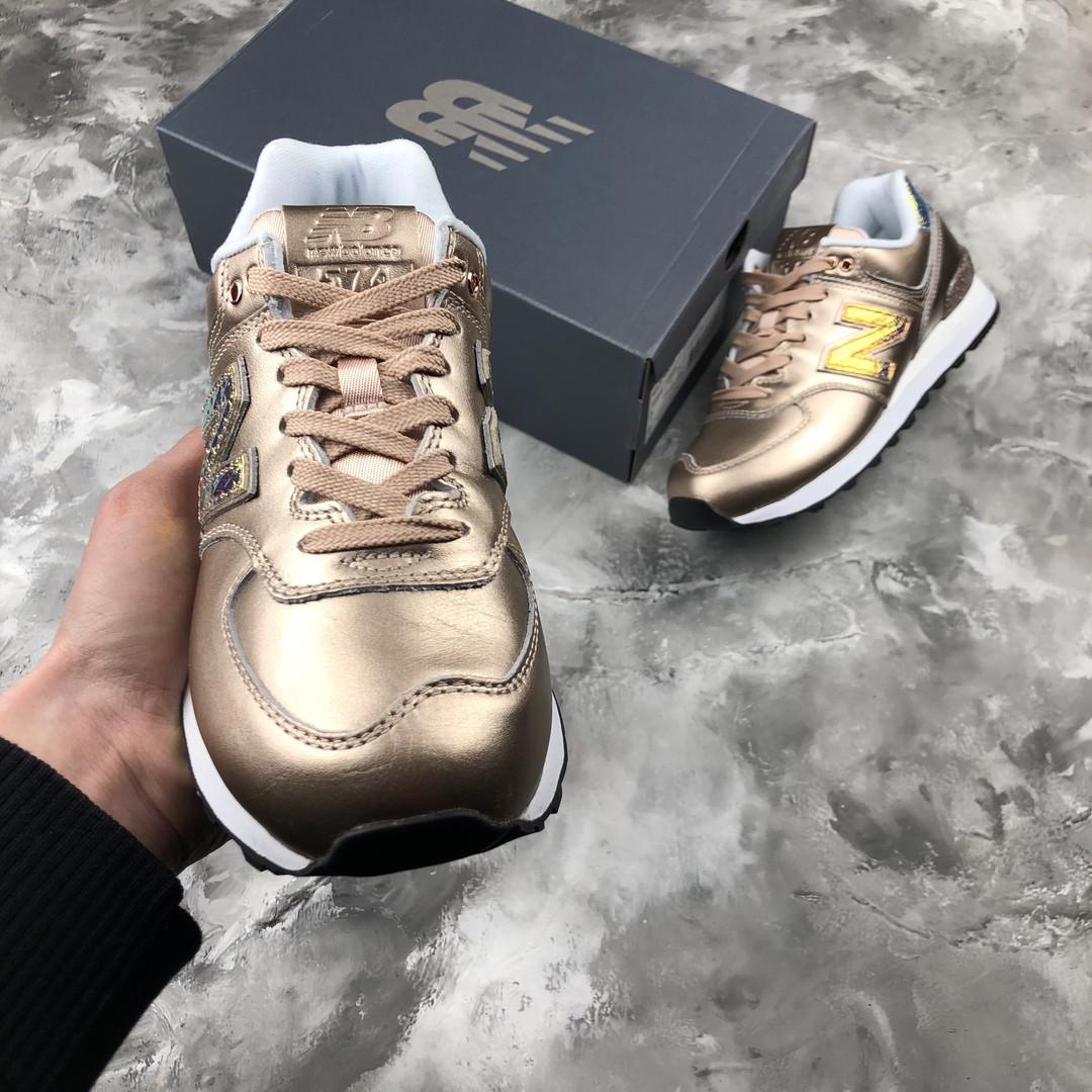 separation shoes cb15e 54e99 New Balance 574 Glitter Punk Pack (Original WL574NRG)   кроссовки женские;  лакированные; золотистые; оригинал - Bigl.ua