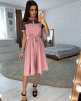 Женское платье по колено с поясом