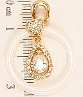 """Кулон ХР Позолота 18 К """"Белое керамическое кольцо с кристальной подвеской"""""""